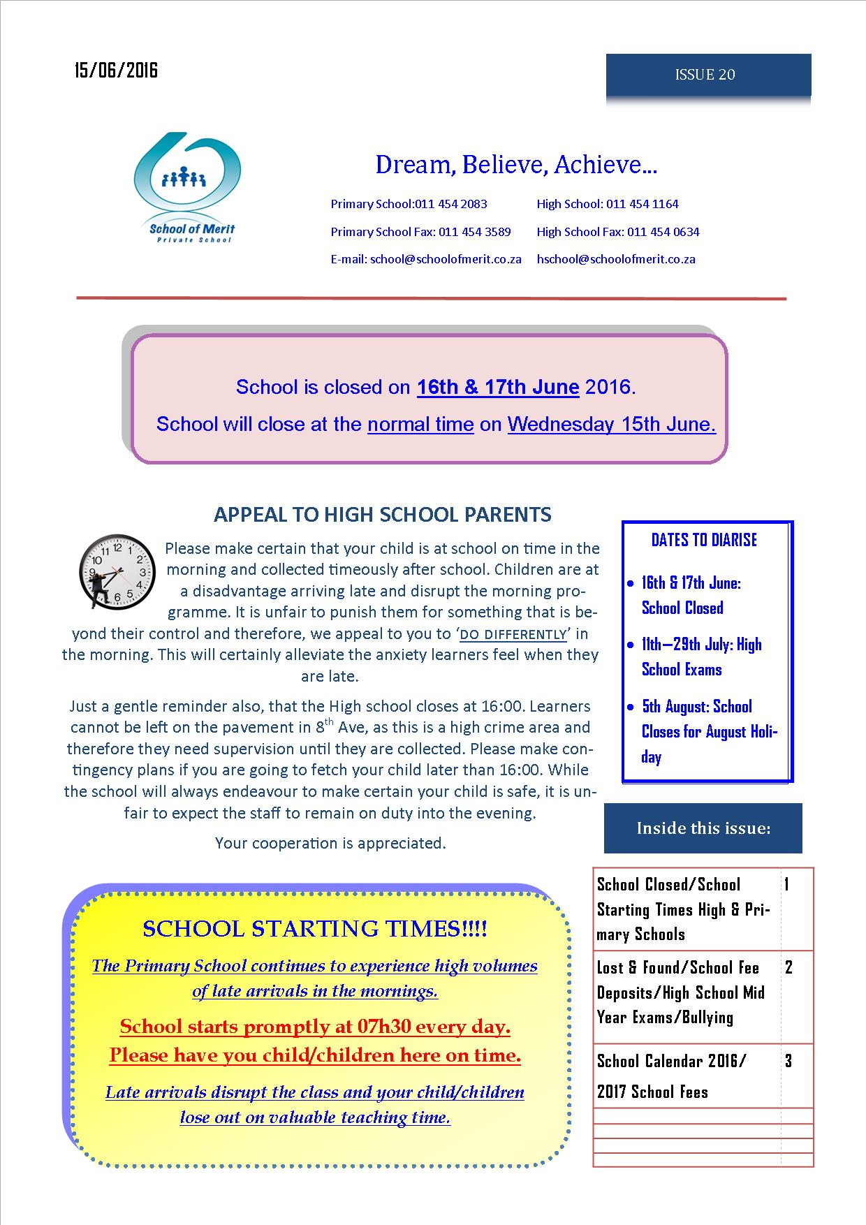 Newsletter 20 pg 1 - 2016