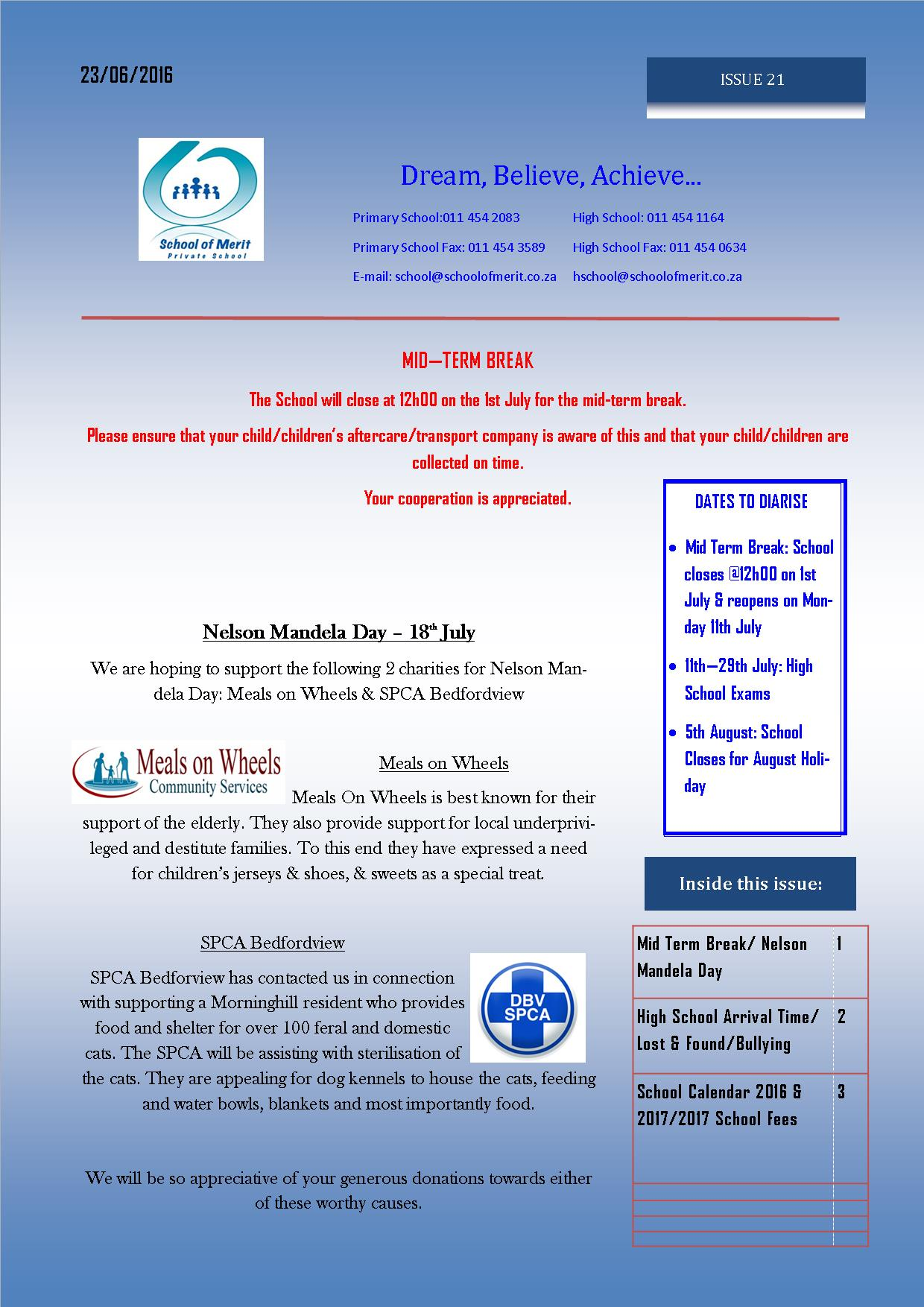 Newsletter 21 pg 1 - 2016